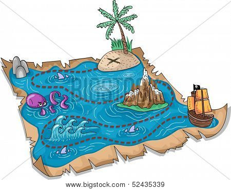 Illustration of a Treasure Map with Three-Dimensional Markers