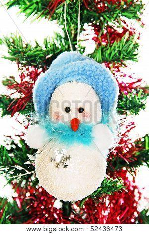 Christmas Snowman On The Tree.