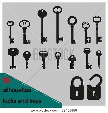 Vector illustration silhouette of keys and locks