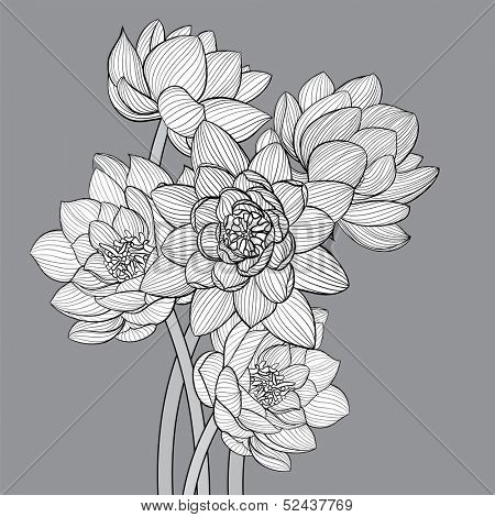 Floral background illustration on gray background