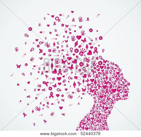 Breast Cancer Awareness Ribbon Woman Head Composition.