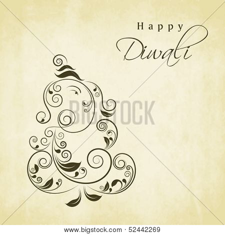 Indian festival of lights, Shubh Deepawali (Happy Deepawali) background with floral decorated illustration of Lord Ganesha on vintage green background.