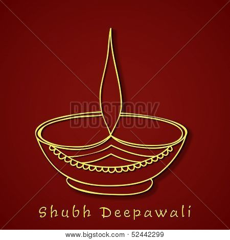 Illustration of oil lit lamp on maroon background for occasion of Indian festival of lights, Happy Deepawali.