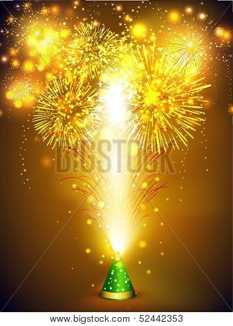 Beautiful firecrackers work on occasion of Indian festival of lights, Happy Deepawali. Can be use as poster, banner or flyer.