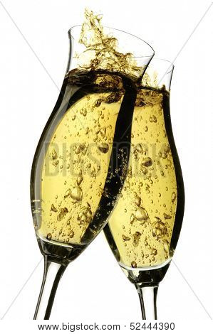 Champagne cheers with bubbles on a white background