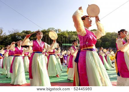 SEOUL KOREA MAY 11: Actresses are performing at Buddhist Cheer Rally for celebration of Lotus Lantern Festival on may 11 2013 at Dongguk University Stadium, Seoul, Korea.