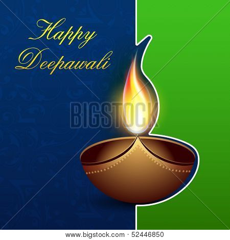 Greeting card for Indian festival of lights,  Happy Deepawali with illuminated oil lit lamp on green and blue background.