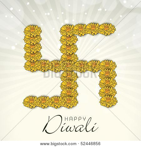 Indian festival Happy Diwali concept with swastik symbol made by flowers on rays background.