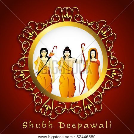 Illustration of Hindu mythology Lord Rama with his wife Goddess Sita and brother Laxman in floral decorated golden frame on red background for Indian festival, Shubh Deepawali (Happy Deepawali).