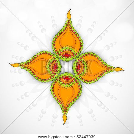 Illustration of decorated oil lit lamps on grey background for occasion of Indian festival of lights, Happy Deepawali.
