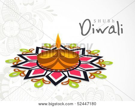 Beautiful Happy Diwali greeting card or background with illuminated oil lit lamp on colorful floral decorated background.