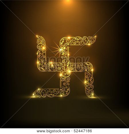 Creative floral decorated golden swatik, symbol of good luck,  on shiny brown background for Indian festival of lights, Shubh Deepawali (Happy Deepawali).