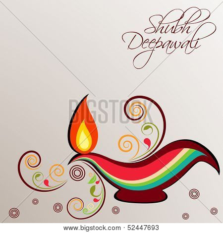 Illuminated traditional colorful oil lit lamp on floral decorated background for Indian festival of lights, Shubh Deepawali (Happy Deepawali).