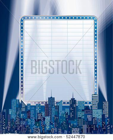vector blank blue billboard over the cityscape