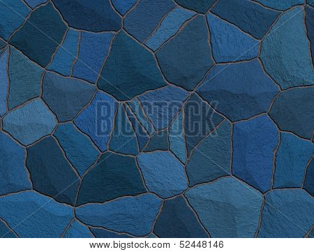 Blue Trencadis Broken Tiles Mosaic