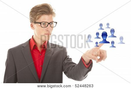 Young Man Selecting Blue Virtual Friends Isolated On White Background