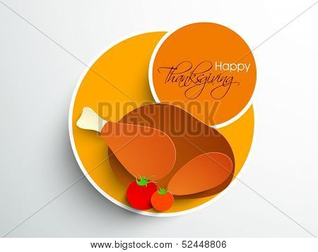Happy Thanksgiving sticker, tag or label with healthy food on grey background.