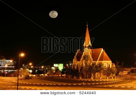 German Church With Moon