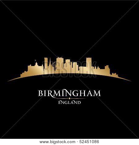 Birmingham England City Skyline Silhouette Black Background