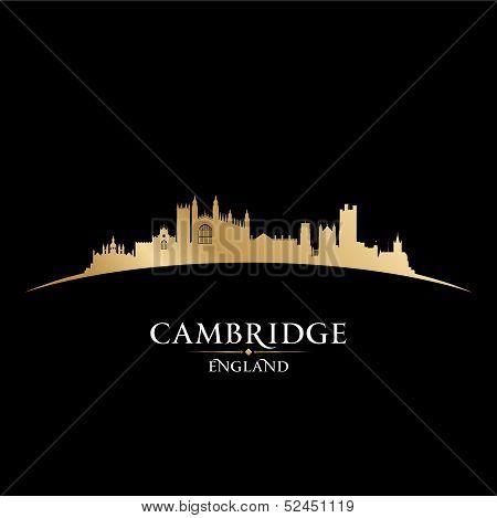 Cambridge England City Skyline Silhouette Black Background