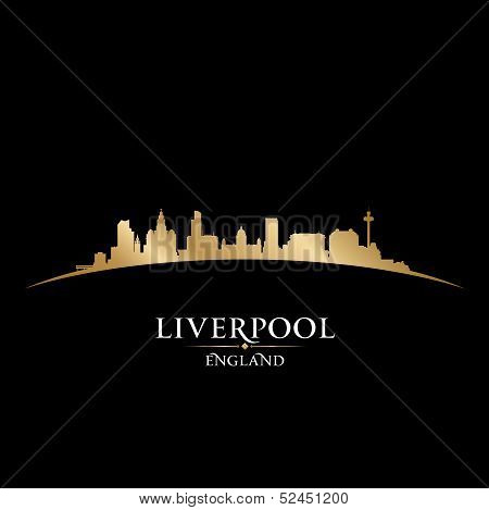 Liverpool England City Skyline Silhouette Black Background
