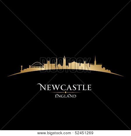 Newcastle England City Skyline Silhouette Black Background