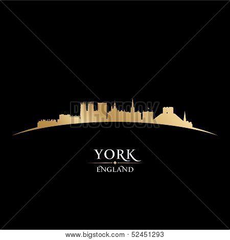 York England City Skyline Silhouette Black Background