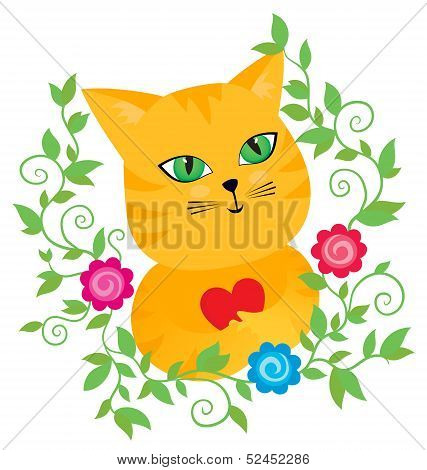 Red Pussycat With A Heart In Floral Frame
