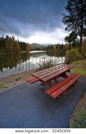 Picnic Table Near The Lake.