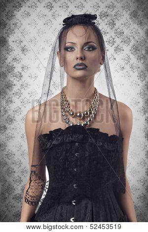 Halloween Portrait Of Dark Lady