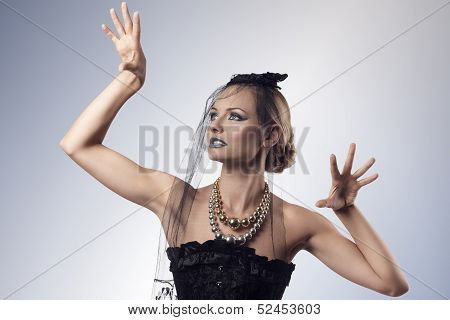 Gothic Female With Sexy Aggressive Pose