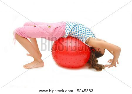 Beautiful Young Girl With Ball Exercising