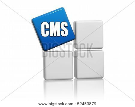 Blue Cube With Letters Cms On Boxes