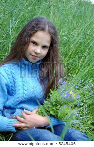 Little Girl With Wild Flowers