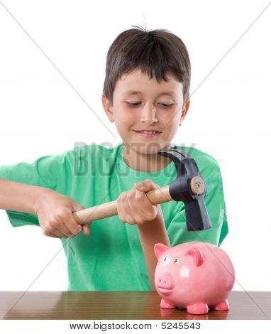 Boy With Moneybox And Hammer