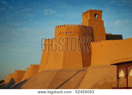 Wall of ancient city of Itchan Kala in Khiva town. Uzbekistan
