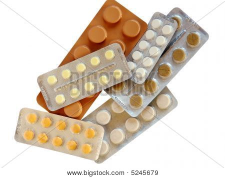 Pile Of Drugs In Different Size And Color