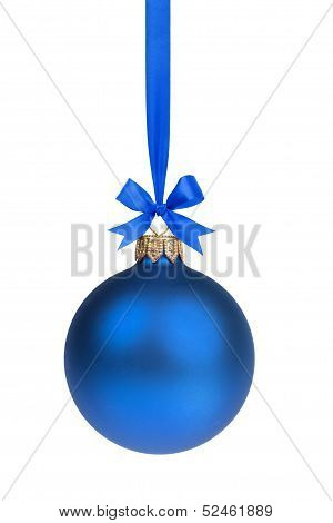 Single Simple Blue Christmas Ball Hanging On Ribbon