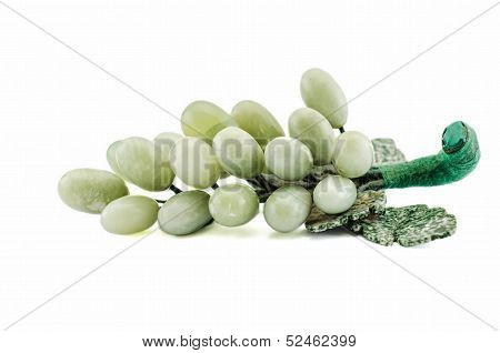 Carved Green Jade Grapes With Leaves
