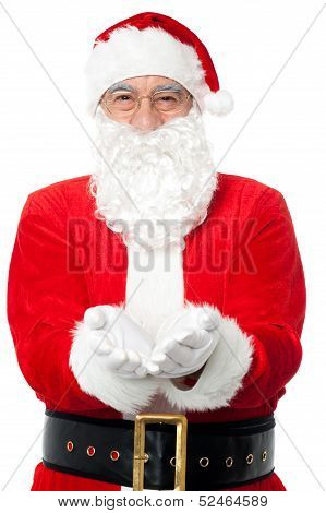 Bespectacled Father Santa Posing With Open Palms