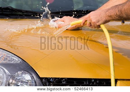 Hand Car Wash - Bonnet With Water Splash