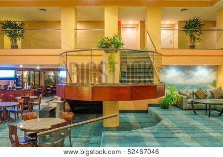 Lounge area of a hotel. Fragment of the lobby of the five stars hotel. Interior design.