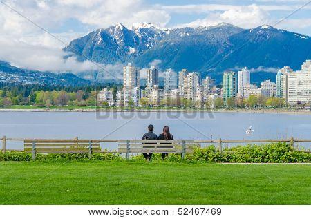 Sea walk at the Kitsilano Beach Park at Downtown of Vancouver, Canada.