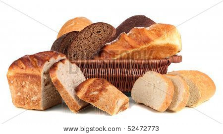Fresh bread in basket isolated on white