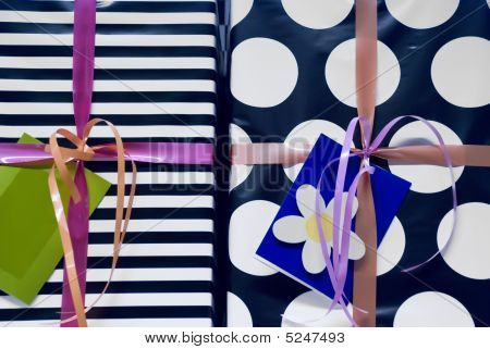 Colorful Present Boxes With Ribbon (close-up)