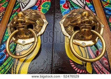 Lion Head Door Knocker On Joss House