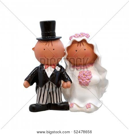 A wedding couple - figurines for wedding cake, isolated on white background