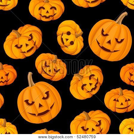 Seamless pattern with Jack-O-Lantern (Halloween pumpkins). Vector illustration.
