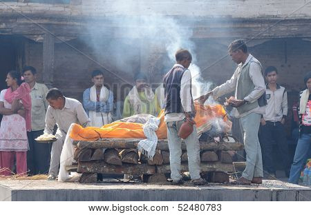 Hindu people making cremation ceremony at holy Pashupatinath temple,Kathmandu