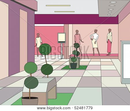 hall in a modern shopping center (vector illustration)